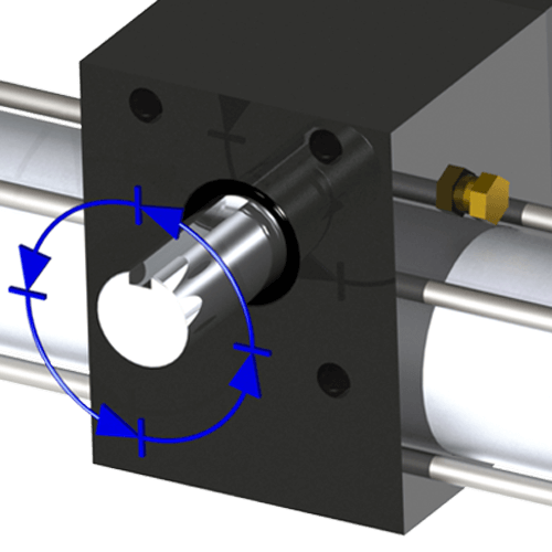 Like a rotary actuator but with unidirectional rotation