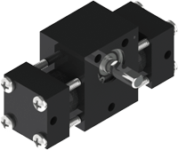 Smallest tie rod rotary actuator, the A01 with composite, long-lasting cylinders