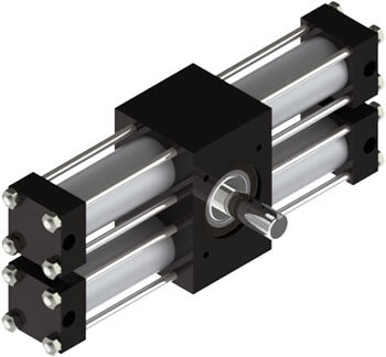 The A32 rotary actuator features a one-piece heat-treated alloy steel pinion shaft, two racks for zero backlash at end of stroke, versatile options, and billions of flexible standard configurations